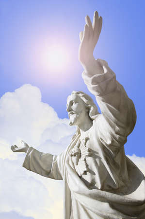 glorify: Hands stretched towards heaven Stock Photo