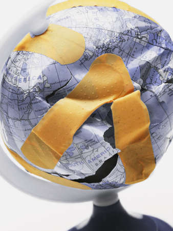 broken patched globe