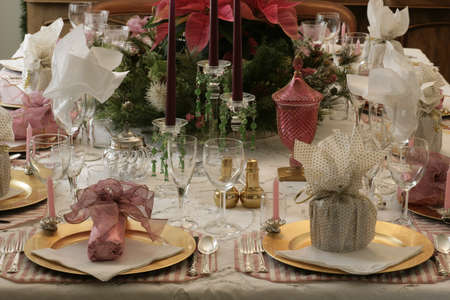 hosts: Formal table settings Stock Photo