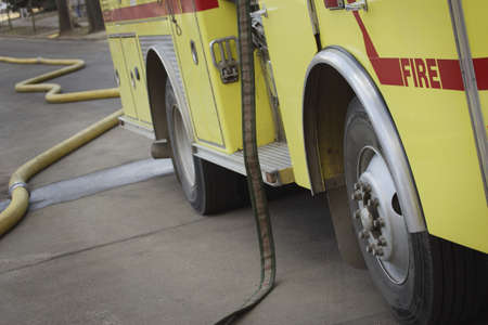 Fire truck and hoses photo