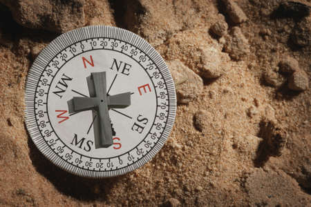 way of living: Compass with a cross as a pointer