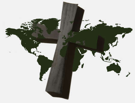 World Map with Cross photo