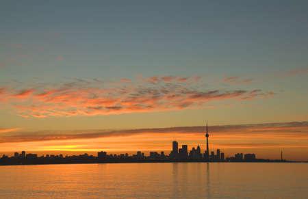Skyline of Toronto against a beautiful sunset photo