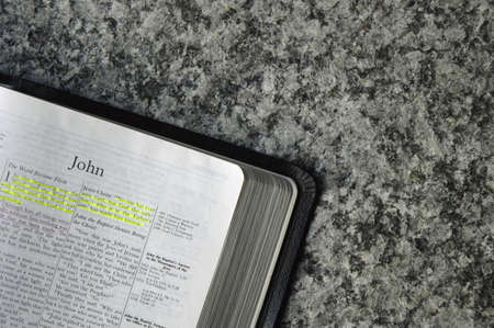 highlight: Bible open to the book of John