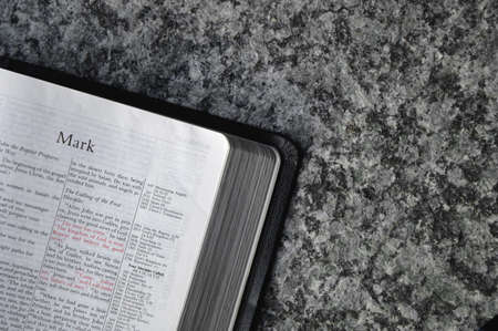 gospels: Bible open to Mark Stock Photo