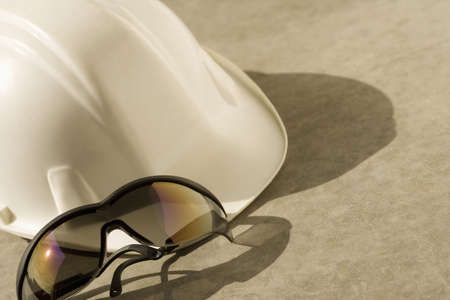 Construction hat and safety glasses Stock Photo - 8241926