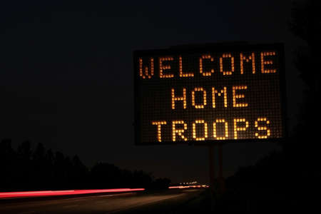 returning: Welcome home sign