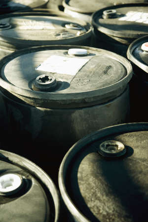 hazardous waste: Battery acid barrels Stock Photo