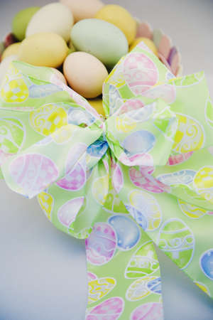 darren: Easter eggs in a basket with bow