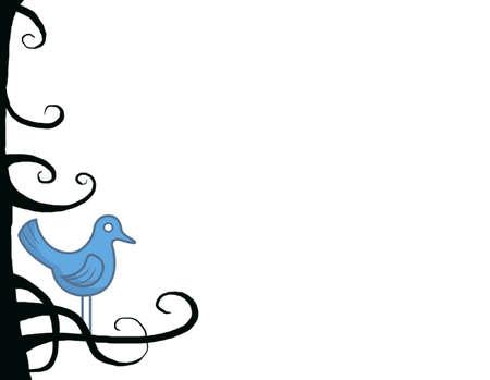 Blue bird among dark branches