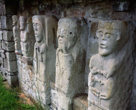 Carved figures of churchmen on White Island, Lough Erne, Co. Fermanagh Stock Photo - 8243758
