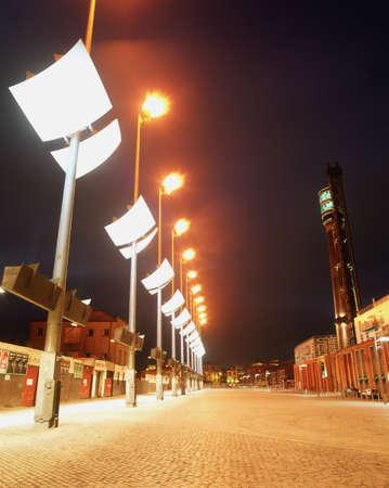 outdoor lighting: Floodlit Smithfield Square in Dublin, Ireland