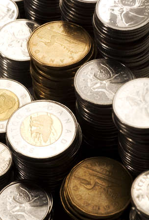 Piles of Canadian money Foto de archivo