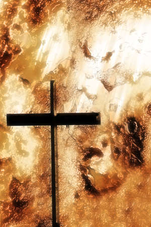 compilations: A cross with an orange rough background