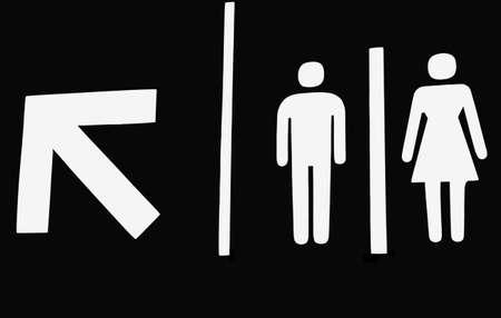 Washroom sign with arrow photo