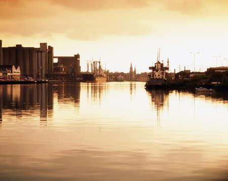 sepias: River Lee And Docks, Cork City, Ireland