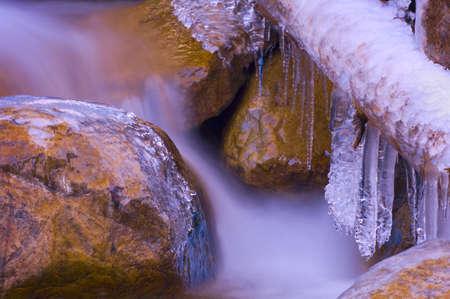 buildup: Ice build-up on river in Jasper National Park, Alberta