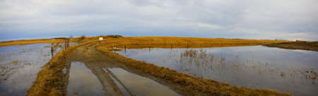 rainfall: Flooded fields after rainfall