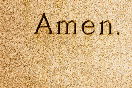 declaration: Amen engraved Stock Photo
