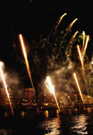 inland waterways: St Patricks Day Festival, fireworks display, Custom House Quay, Dublin, Ireland Stock Photo