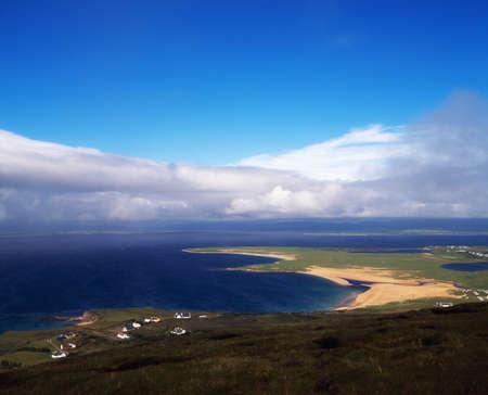 achill: Achill Island, Co Mayo, Blacksod Bay  & Ridge Point from above Doogort Village, Ireland Stock Photo