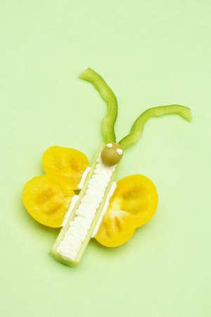 Studio shot of food shaped like butterfly Standard-Bild