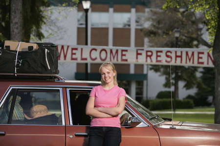 A woman arriving at college