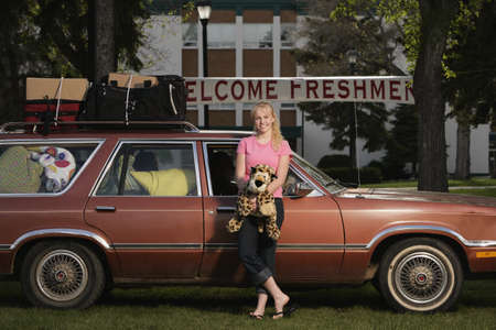 A woman arriving at college Stock Photo - 8242555