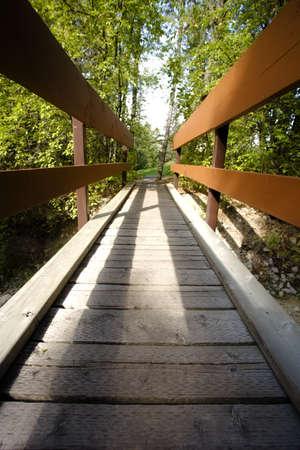 foot bridge: A foot bridge, Fairmont, BC, Canada Stock Photo