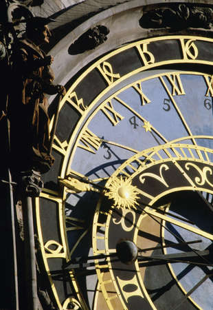 Detail of the Astronomical Clock on Pragues Town Hall, Prague, Czech Republic   Stock Photo
