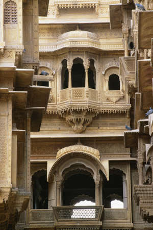 Facade of Patwon ki Haveli, Jaisalmer, Rajasthan, India photo