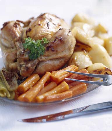 A complete chicken dinner photo