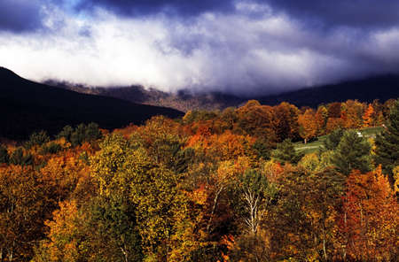 View of autumn colored trees in Stowe, Vermont, New England, USA photo