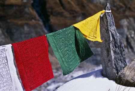 supplicating: Buddhist Prayer Flags, Annapurna Region, Nepal