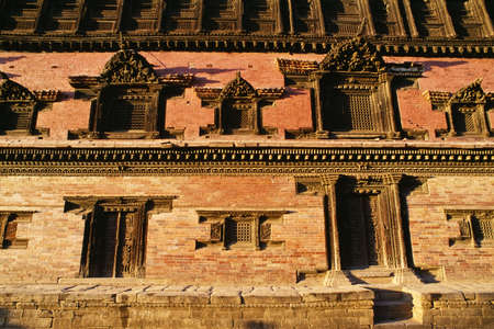 fullframes: Façade of the Royal Palace, Bhaktapur, Nepal Stock Photo