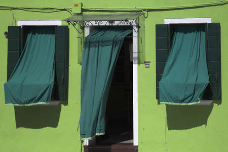 Green house and awnings, Burano, Italy