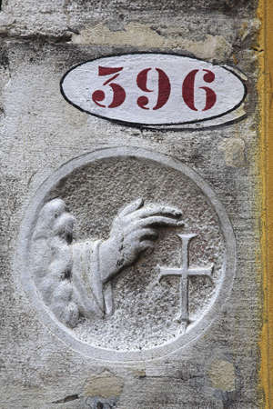 House number 396 and carved blessing, Venice   Stock Photo