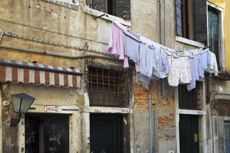 Clothing drying on the line, Venice, Italy Stock Photo