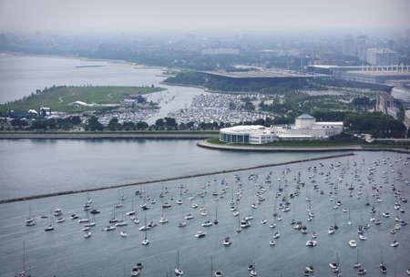 ハイアングルビュー: シカゴ港、イリノイ州、アメリカ合衆国の高角度のビュー 写真素材