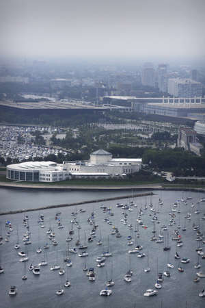 arial views: Aerial view of Chicago and harbor