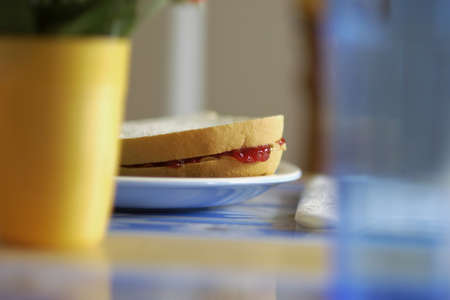 Peanut butter and jam sandwich Stock Photo - 8241797