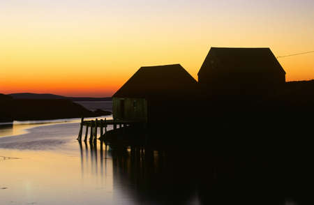 Fishing village of Peggys Cove at Dusk, Nova Scotia, Canada photo