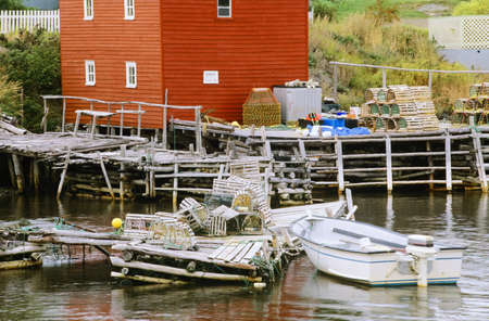 lobster boat: Lobster traps and boat, Newfoundland, Canada