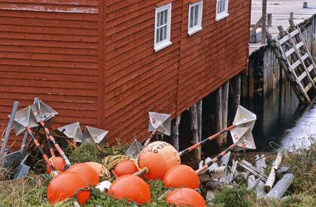 salvage: Buoys beside boathouse, Salvage, Newfoundland, Canada Stock Photo
