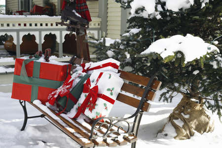 Christmas gifts on a park bench Stock Photo - 8243327