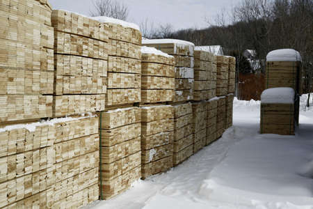 softwood: Softwood lumber in piles at winter Stock Photo