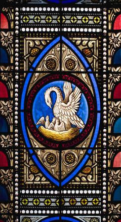Stained glass window in a church Standard-Bild