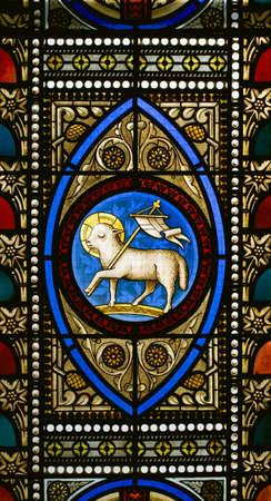 Stained glass window in a church Foto de archivo