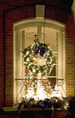 Christmas decorations on a window photo