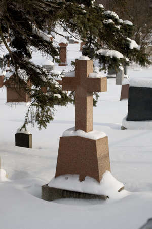 Cemetery covered in snow Stock Photo - 8243396